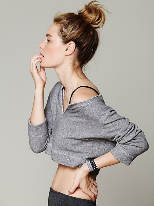 Solow Sport French Terry Cropped Pullover in tops