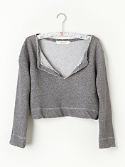 French Terry Cropped Pullover in Intimates-fp-movement