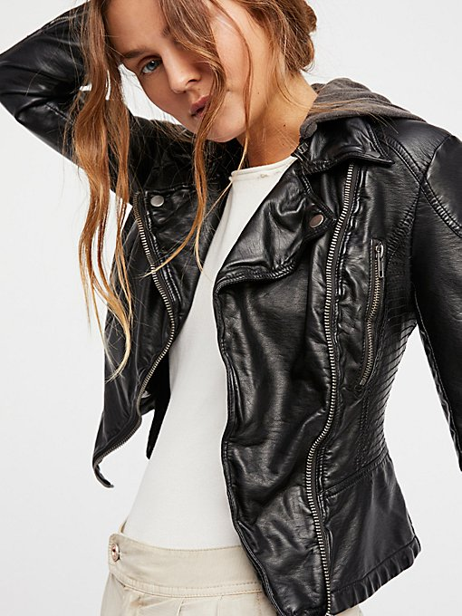 Vegan Leather Hooded Moto Jacket in jackets-2