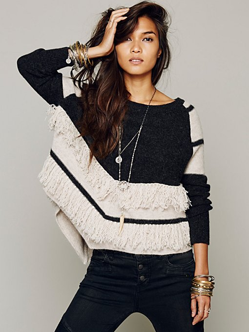 Free People Colorblock Fringe Pullover