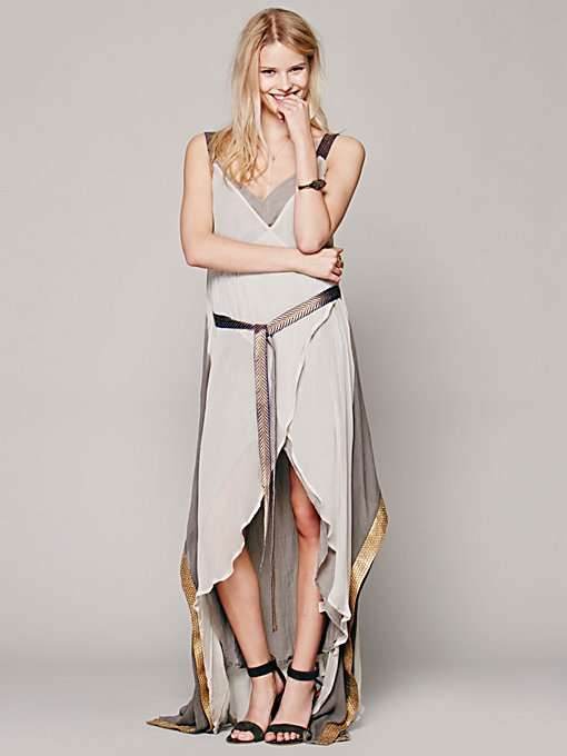 Free People Maheya Chiffon Drape Dres in Dresses