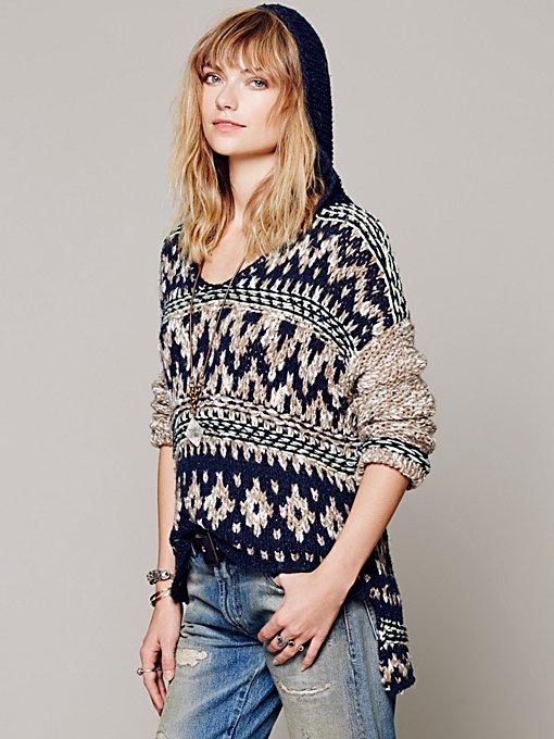 Free People Fairisle Hooded Pullover